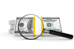 Dollars and Magnifying glass Royalty Free Stock Photo