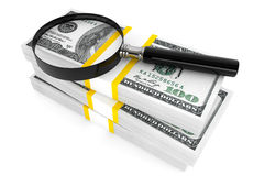 Dollars and Magnifying glass. Business concept. One hundred dollars and Magnifying glass on a white background Royalty Free Stock Photography