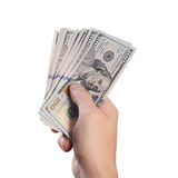 Dollars in man hand isolated on white background Stock Images