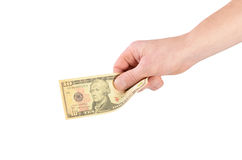 Dollars in a man's hand isolated on white Royalty Free Stock Photos