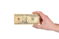 Dollars in a man's hand isolated on white Stock Photography