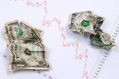 Dollars on market chart. Two crumpled dollars banknotes on real usd euro chart stock photography