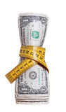 Dollars with measure tape Stock Photos