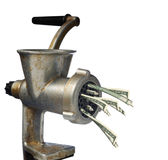 Dollars and meat grinder Stock Image