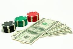 Dollars met spaanders Stock Foto's