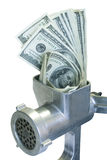 Dollars are milled. Money concept. Dollars are milled in a meat grinder Royalty Free Stock Photography