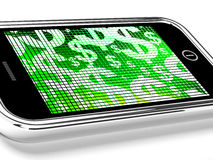 Dollars On Mobile Screen Show Money Or Wealth Royalty Free Stock Photos