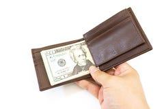 Dollars money in bag on white background Stock Photos