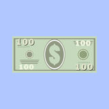Dollars, money banknote. 100 dollars, money banknote. Simple, flat style Graphic vector illustration Royalty Free Stock Images