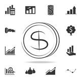 Dollars money coin logo icon. Detailed set of finance, banking and profit element icons. Premium quality graphic design. One of th. E collection icons for Royalty Free Stock Photo