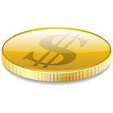 Dollars money coin in perspective vector. Dollars money coin in perspective vector. vector illustrations Stock Photography