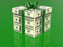 100 dollars money gift. 3D rendered illustration of a 100 dollars money gift. The gift is wrapped using a green ribbon and the gift is positioned over a green Stock Images