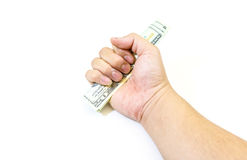 Dollars money in hand on white background Stock Photos