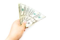 Dollars money in hand on white background Royalty Free Stock Photos