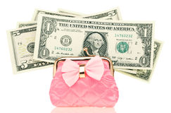 Dollars money in the purse. Dollars money in the change Coin Purse isolated on white background Stock Image