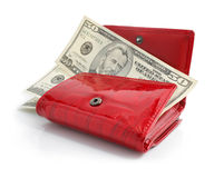Dollars money in the red purse isolated. On white background Royalty Free Stock Photos