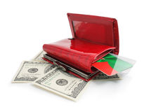Dollars money in the red purse isolated Royalty Free Stock Photography