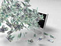 Dollars, monitor Royalty Free Stock Photos