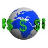 Dollars near the earth.  stock illustration