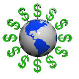 Dollars Near The Earth Royalty Free Stock Photo