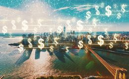 Dollars with New York City Royalty Free Stock Photo