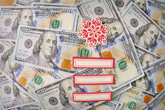 Dollars notes with Christmas elements Stock Photos