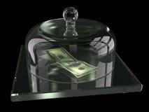 Dollars onder de glasdekking Stock Foto's
