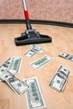 Dollars op de vloer royalty-vrije stock afbeeldingen
