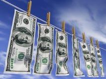 Dollars op een kabel Royalty-vrije Stock Foto's