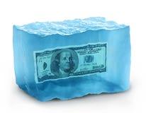 Dollars op ijs Stock Foto
