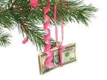 Dollars op Kerstmisboom Stock Fotografie