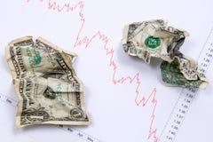 Dollars op marktgrafiek Stock Fotografie