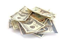 Dollars op wit royalty-vrije stock foto's