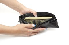 Dollars in open purse Royalty Free Stock Photos