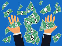 Dollars ou argent contagieux tombant du ciel Photo stock