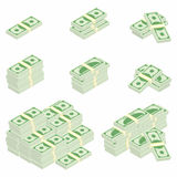 Dollars. Packages of banknotes in various angles. Different stacks and piles of cash stock illustration