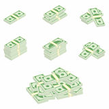 Dollars. Packages of banknotes in various angles. Different stacks and piles of cash Royalty Free Stock Image