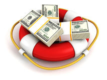Dollars Packs in red lifebuoy. Money Save Concept Royalty Free Stock Photo