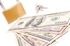 Dollars and padlock Royalty Free Stock Images