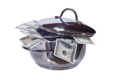 Dollars in a pan Stock Images