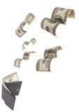 dollars partis de pochette d'isolement de passage Photos stock