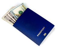 Dollars in the passport Royalty Free Stock Image