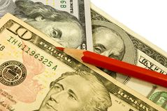 Dollars and pencil Royalty Free Stock Photography