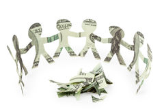 Dollars people cutouts dance around slices Stock Photo