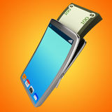 Dollars Phone Shows World Wide Web And Bank Royalty Free Stock Photo