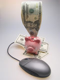 Dollars, piggy bank and mouse Stock Photos