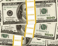 Dollars in piles Stock Photo