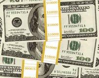 Dollars in piles Stock Photo