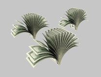 Dollars, plants, shrubs,Origami 3. Dollar banknotes executed in the form of plants, bush on a gray background Royalty Free Stock Image
