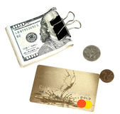Dollars, plastic card and cents Royalty Free Stock Photography